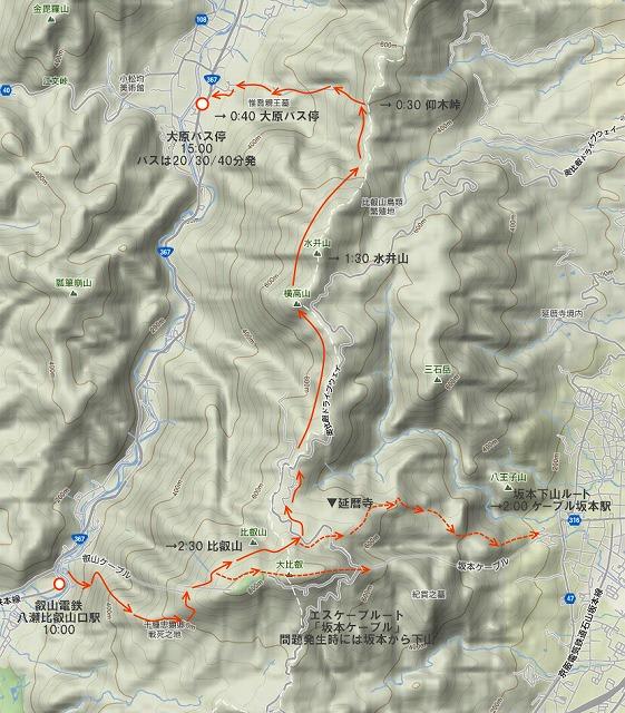 八瀬→比叡山から坂本か、比叡山→大原縦走をトライするか?
