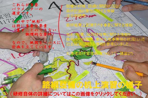 地図の上で様々な状況を前提に、森林整備のための道(路網)整備の計画を立てています、この後、この「仮説」が実現されるわけです。