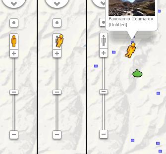 このGoogle Mapの縮尺メーターの上にいる「ペグマン」を見たい場所の青い線か点にドラッグ&ドロップすると写真か、360度の画像が出てくる。