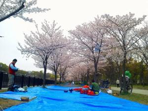 昨年の場所取りは、朝まではしのいだが、肝心の朝から長雨が続いた。