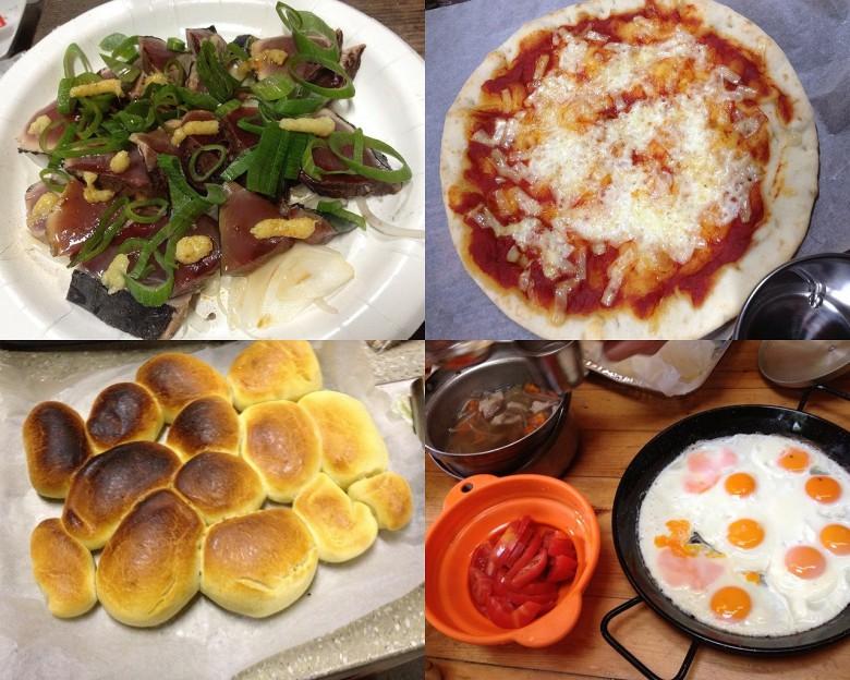 かつおタタキ/ピザ(これは日本ハムの製品です)/パン/朝はパエリアパンで10目玉焼