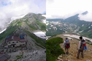 写真左「一の越山荘」写真右「大走り」ガレ場ではあるが危険は少ない