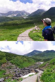 写真上「道の途中から立山三山を望む」写真下「B-Cの分岐点」