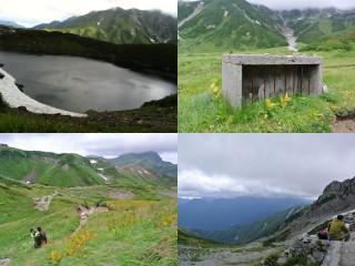 左上はみくりが池、残りは一の越までの登山道、花や紅葉で色づいている。右上は地蔵が保護されているトラ箱(?)おそらくは風雪から保護するための物。