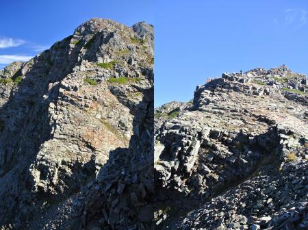 """有名な『逆層スラブ』天狗岳の前面に配される""""写真栄えする""""岩場です。"""