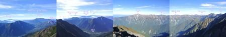 『間ノ岳からの景色』4枚の画像をつなげています、南(乗鞍)、東(八ヶ岳・富士山)、西(笠ヶ岳)、北(立山・槍ヶ岳)などが見えます。