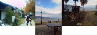 大津の湖岸公園内レイクサイドのカフェが4軒ほど立ち並んでいる。
