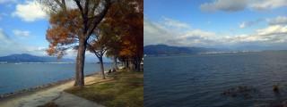 残照の道と近江大橋からの眺望