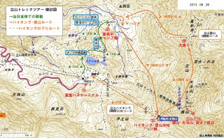 夏の立山計画時地図、上部の右上が『大走り』の部分。地図中央の「盆地」とは反対側(上側)が崩れた。