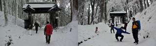 山門をくぐる、雪を見て駆け回るのは犬だけではないw