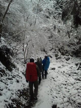 【雪の愛宕山】神社の境内を行く。