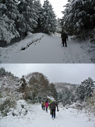 山頂付近では吹雪き、『人工スキー場後』もしっかり「雪の中」に埋もれていました。