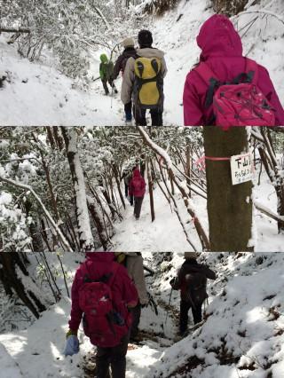 南側斜面になる「修学院側」も今日はしっかりと雪の中でした。ただこちらは7合目以下は地面が凍ってはなさそうだったので、スグに溶けてなくなってしまいそうではあります。
