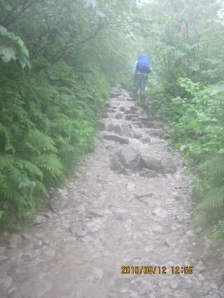 上高地(横尾)=涸沢のルート上、このように水路になってしまう箇所もある。