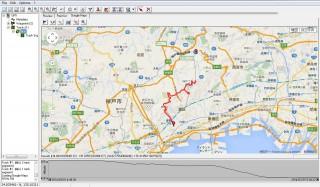 これは仮に「ケーブルの部分」もカットしたルートの「Google Map」表示