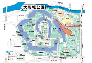 大阪城公園は北東部(京橋寄り)野球場のあたり