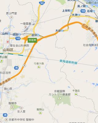 右上の京阪電車京津線「大谷駅」から左下の地下鉄「醍醐駅」まで、右上の水地は「琵琶湖」で眺めは良いし、都市からも近い