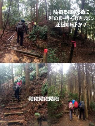 階段だらけの序盤、坂も急で苦しい。右上の写真は途中で見つけた「別ルート」のリボン、おそらく「迂回路」の合流地点