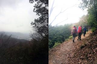 一時間ほど登ると、琵琶湖が望める、さらに30分ほどで徐々に道は緩やかになる。