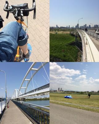【左上から時計回りに】久々にロード/淀川河川公園の「アフリカ」/攝津へ渡る橋/帰りの公園でパラグライダーのテストをしている人