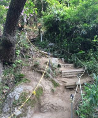 入山ゲートから5分ほどである分岐点、風化にさらされていて滑りやすい