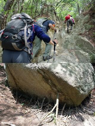 急な坂が続く/不思議な岩も並ぶ