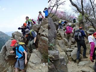 写真左はキレット、右は登りの最後のほうにある登り、岩場が続きそれなりに高度感はあるが、投げ出すほどではない。