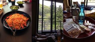 癒しの時間湯ノ山温泉のオレンジハウスで「ナポリタン」/ロッジで昼寝/お盆に妙高土産とお菓子