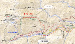 御在所岳地図、北から「裏道」「中道」(一の谷新道)「表道」と並ぶ。