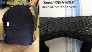 【MINERVA】 Lと肩ヒモ用のマット、5mmほどのスペースが出来る、1年以上毎日使ってもヘタリが無い。