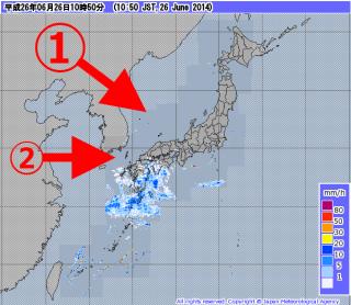 【西から東】大体は①斜め上から斜め下へか、②単に西から東へと雨雲は動いていく。南から斜め上へと上がるような変化は珍しく台風くらい。