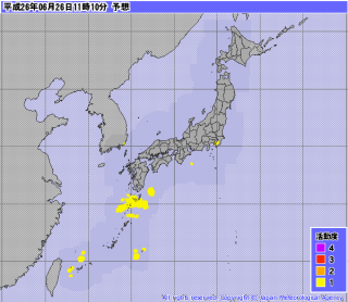 【雷】今日の鹿児島の雨は、激しい雷を伴っているのがわかる。