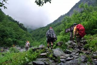 【本谷橋】ついに本格的な登山道へと入る。