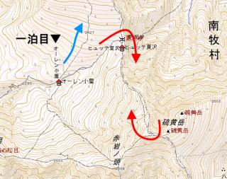 【初日】意外と問題なのは初日かもしれない、時間は短いが、硫黄岳の「そそり立つ姿」は威圧感がある。