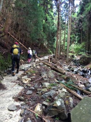 【破砕】元林道の「コンクリート」が度重なる大雨で削られてもはや歩道の幅を残すだけだ。