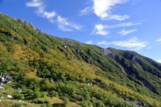 【秋晴れ】昨日歩いた「稜線」もクッキリと見える。