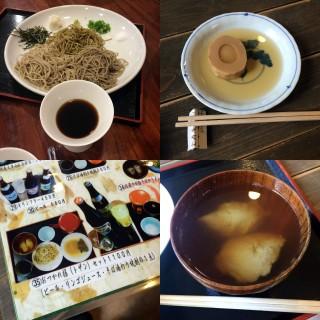 【全寿庵】そばはだったん、信州の二種類の粉でそれぞれの十割と二八そばが食べられる、モーニングセットはいろいろ食べれてお得。