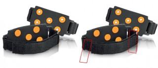 【ベルトの取り付け位置】プラスティックの「日」型留め具でループを作るか、マジックテープで止めてしまう。