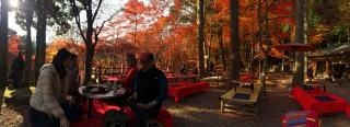 【神護持前「硯石亭」】美しい紅葉の席で「湯豆腐」などが提供される。