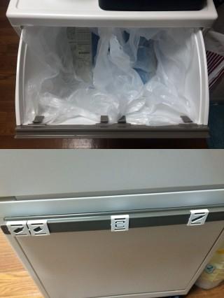 【柔軟な分別機構】1段には2つの袋がきっちりかけれて、取っ手に「きれいにつく」マーカーも付属