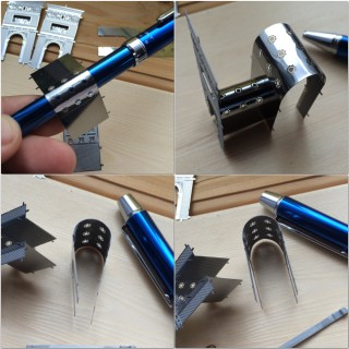 【曲線部分】ペンに巻きつけて加工、下段写真のように「強めに曲げて→少し戻す」ほうが綺麗にできる。