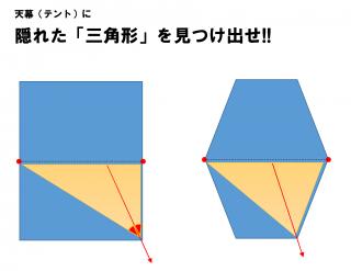 【三角形を探す】そしてその三角の「ロープをかけた角」を1/2にする角度に引くのが正解!!