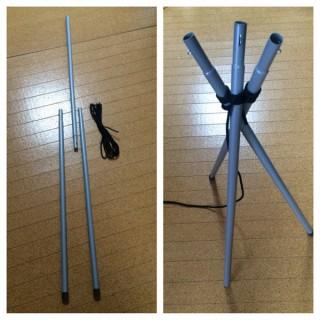 【三脚を作るはさみ縛り】3本の棒で三脚が作れます。