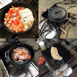 【鋳物鍋(スキレット)とフライパンで】アクアパッツァと鳥の「スキレット焼き」、もちろん熾火でバーベキューも。