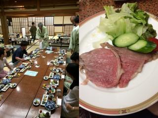 【安いとはいえそつない料理】川魚の作りなども出て満足/「焼山蒸し」ローストビーフは別注、これも満足。