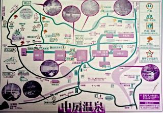 【なかぶさ温泉マップ】宿泊者に配布される「敷地の」地図、徒歩20分(約1km)という距離は「一つの里」のサイズがある。