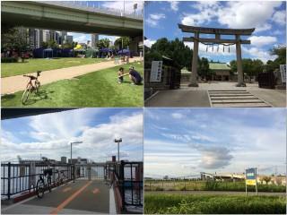 【IKEA鶴浜へ】IKEA前のなみはや大橋はなんと自転車でも渡ることができます。(左上:中之島SW中はビアフェス中/右上:生魂神社/左下:めがね橋の渡船場/右下:IKEA前なみはや大橋)