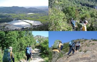 【ぐるりと】竿池を眼下に山々を伝う、最後の写真が百畳岩だが、曽根駅前の「裏山」から100メートルほど下り、150メートルほど上がる事になる。