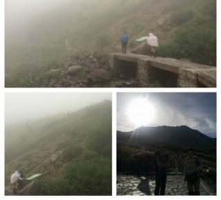 【45分の冒険】上の写真はもうほとんど最後のところですが、橋を渡った後この「丘」を登るとゴール(右下写真は翌日の立山三山)