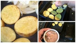 【完成】焼き目もついたので、ひとつまみの塩を玉ねぎと芋にします。